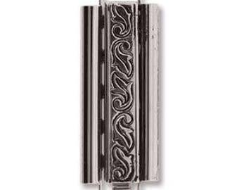 Elegant Elements Beadslide Clasp, Swirl Design, 10mm x 29mm - Antique Silver