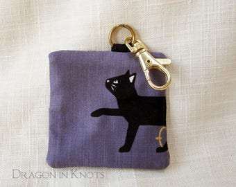 Black Cat Earbud Case - Dull Purple Guitar Pick Holder, Violet Fabric Keychain Pocket with Goldtone Swivel Clip, Gift for Cat Lover