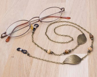 Bronze glasses lanyard - leaf and picture jasper eyeglasses chain | Gemstone eyewear neck cord | Sunglasses chain | Eyeglass holder