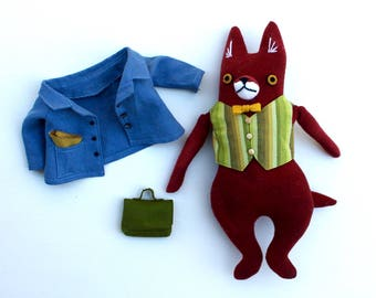Fox Fellow in Linen Jacket wool doll plush hipster