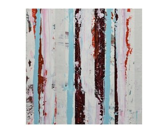 "ORIGINAL Abstract Painting ""Aqua 02"" by Lisa Carney, Modern Art, Minimalist Painting, Stripes, Geometric, Contemporary, White, Blue, Maroon"