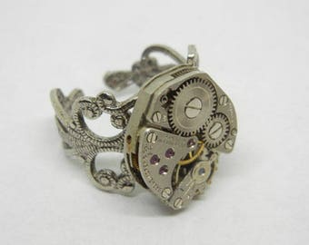 Steampunk Adjustable Victorian Vintage Altered Mixed Media Art Old Pocket Wrist Watch Gears Ring