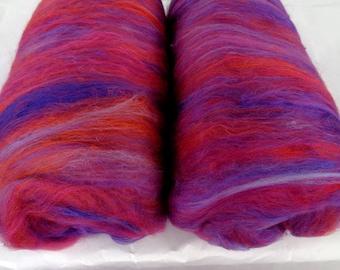 3.5oz, Batts, merino silk, felting wool, batts for spinning, felting fiber, spinning fiber, batting, batt, wool batts, orange, purple, 100g