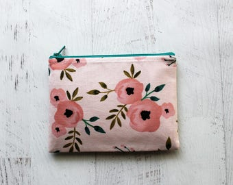 Floral on blush zip pouch - small makeup bag - pink floral zippered bag - gifts for mom - floral wallet - couch floral bag