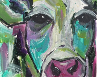 Abstract Acrylic cow 12x12 gallery wrap canvas original painting expressionism bold bright home decor farm shabby chic