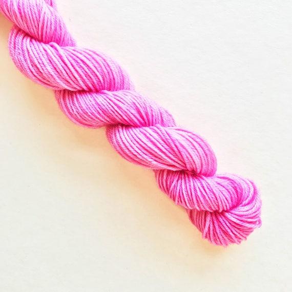 PEONY pink hand dyed yarn mini skein
