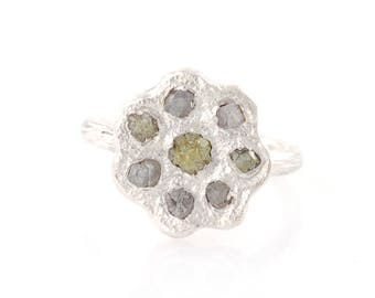 Rough Diamond Flower Ring in Palladium Sterling Silver - size 5.5 - Ready to Ship