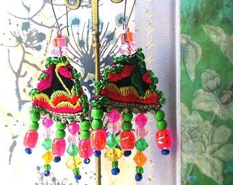 Party Time Earrings, Vintage Embroidery, Woven, Talisman, Boho Earrings, Pretty, Dangle Earrings, Hot Pink, Large Earrings