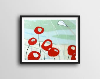 Red Poppy Print with Paper Airplane Art // 11x14 Map Art Print makes Fun Decor for Kids Room