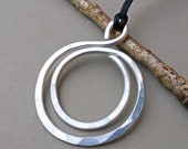 Big Bold Double Hoop Pendant,  Large Statement Necklace, Light Weight Aluminum Circles Necklace Big Pendant Gift for Her Women