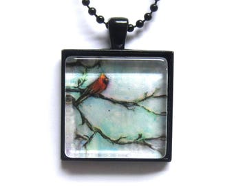 Red Cardinal tree painting Art Glass Tile Pendant Necklace