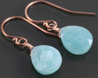 Amazonite Earrings. Rose Gold-Filled Ear Wires. Genuine Gemstone. f17e036