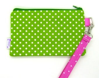 Clearance - Sale - Gift - Gracie Designs Wristlet - lime green dots