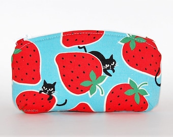 Strawberry Cats Sunglasses Case - Black Cats, Blue & Red, Strawberries, Cat Owner Gift, Jewelry Pouch, Change Purse, Mischievious Cats
