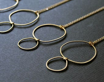 Topo Necklace 1 - uneven circle freeform round topography brass gold golden short minimal minimalist modern everyday jewelry practical