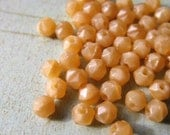 Vintage English Cut Satin Beige Givre Glass Beads - 50 pieces - 3mm
