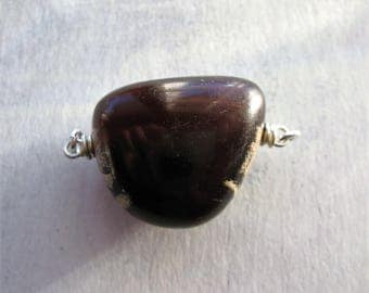Sumatra Amber Bead Connector in Sterling Silver - 1 piece - 1.75 inches wide