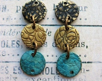 Black, Antiqued and Blue Brass Textured Disc Earring Chains - 1 pair - 1.25 inches