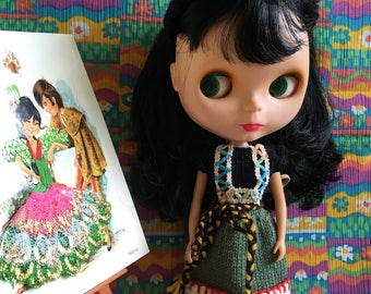 Blythe Folksy Frida Kahlo inspired Traditional Dress and Headpiece
