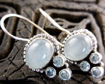 Aquamarine & blue topaz gemstone sterling silver earrings