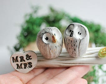 Owl Wedding Topper - Rustic cake topper - Clay owls - Owl Cake Toppers - Rustic Wedding - Woodland cake topper - READY TO SHIP!