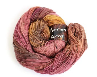 Handdyed 4ply sock yarn, fingering merino donegal fleck knitting wool, plum gold brown crochet Perran Yarn Merlot, uk natural fibre