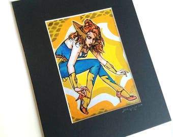 Castaspella Pin Up Girl matted giclee print- She-Ra Princess of Power original art