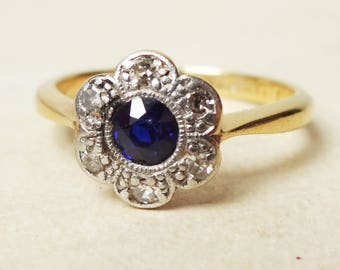 Art Deco Sapphire & Diamond Flower Ring, Vintage 18ct Gold and PlatinumRing, Approximate Size US 6.25