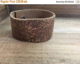 MEMORIAL DAY SALE- Embossed Leather Cuff-Create Your Own-Floral Leather-Word Cuff