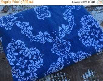 SALE- Blue Damask Fabric-Home Dec-Blue and White-Leaves