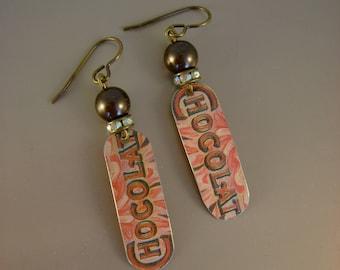 Chocolat - Vintage Hand Cut Hersheys Chocolate Candy Tin Brown Pearls Recycled Repurposed Jewelry Earrings - Ten Year Anniversary Gift