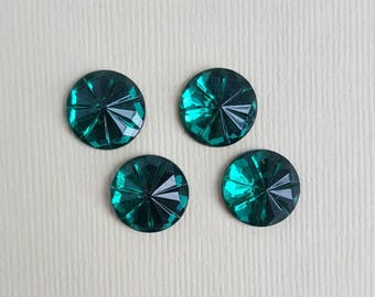 Vintage emerald green cut glass cabochons