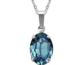 Swarovski Crystal Oval Pendant Necklace Sterling Silver Indicolite or CHOICE OF COLOURS