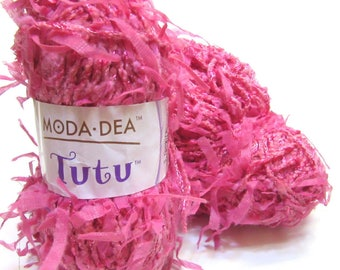 Pink Tutu Yarn, Moda Dea, 2 Skeins, Coats Brand, Rayon, Cotton, 3347, Raspberry, Flags, Unused, New, Crochet, Knit