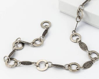 Antique Silver Alternating Round and Textured Diamond Chain #CC110