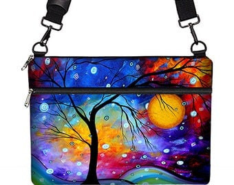 MADART Laptop Bag w/ Shoulder Strap, Winter Sparkle 13 inch Macbook Pro Case, Macbook Air, IPad Pro 12.9 Case Tree of Life blue purple MTO
