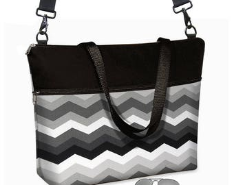 17 inch Laptop Bag avail w/ long cross body strap / Gray Black Chevron Laptop Tote Bag / Women's Briefcase / Pockets, Zipper MTO
