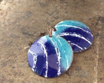 Artisan Enamel Components, Torch Fired Enamel Charms or Pendants, Cobalt Blue, Seafoam Green, White, Ocean Inspired, OOAK Jewelry Supplies