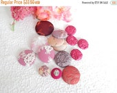 CLEARANCE - 15 pink mix fabric covered buttons, mixed sizes