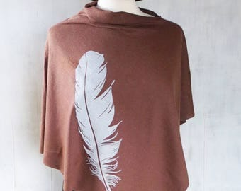 Womens Poncho - Hemp Organic Cotton Jersey Poncho - Womens Shawl - Brown Poncho - Ladies Screen Printed Poncho - Feather Shawl