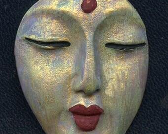 Polymer OOAK Buddha Face  Cab   Abstract  AAB 5