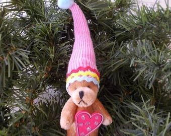 Miniature Bear with Stocking Cap and Sparkling Heart Christmas Tree Ornament Miniature Collectible Bear Ornament