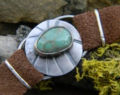Rustic Silver and Damele Turquoise Bracelet - stamped silver on suede leather band.