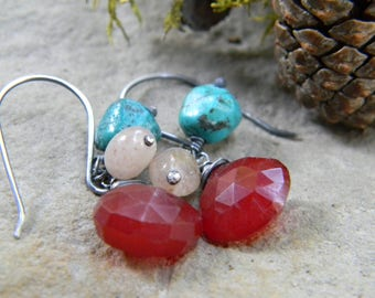 red chalcedony, turquoise and lepidocrocite earrings - oxidized sterling silver - rustic, dangle earrings