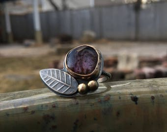 Super Seven Ring - rustic oxidized sterling silver and 14k gold accents -  Size 6