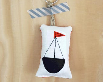 Stuffed keyring charm with sailing boat appliqué nr 1 SALE