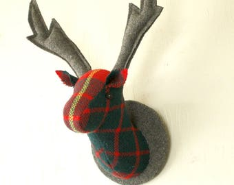 Deer Head  Fabric Wall Hanging , Christmas