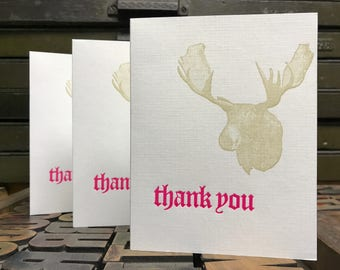 Moose Thank You Letterpress Cards - Set of 3