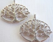 25% OFF Summer Sale Tree of Life Charm - Lead Free Pewter - Silver Finish 27mm - 2 pack (G - 544)