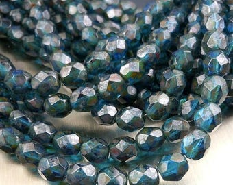 25% OFF Sale 6mm Czech Glass Beads Firepolished Faceted Round Beads - Capri Picasso (G - 469)